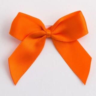 Satijnen Strikjes Oranje (Zelfklevend) 5 cm - 12 stuks