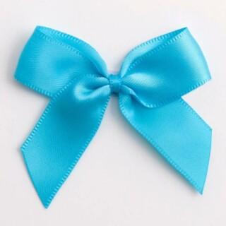 Satijnen Strikjes Turquoise (Zelfklevend) 5 cm - 12 stuks