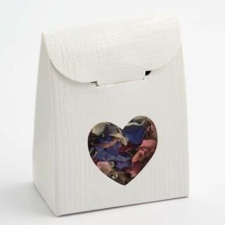 Doosjes Wit Linnen met Hart Design Venster – 6 x 3.5 x 8 cm – 10 Stuks