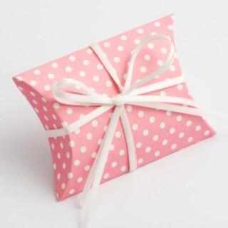 Doosjes Roze Polka Dot – Sachet 7 x 7 x 2.5 cm – 10 Stuks