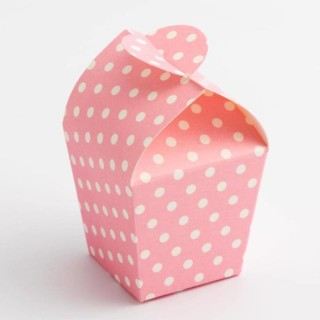 Mini Doosjes Roze Polka Dot – 3.3 x 3.3 x 6.5 cm – 10 Stuks
