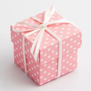 Doosjes met Deksel - Roze Polka Dot – 5 x 5 x 5 cm – 10 Stuks.