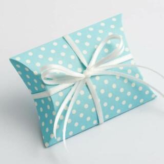 Doosjes Blauw Polka Dot – Sachet 7 x 7 x 2.5 cm – 10 Stuks