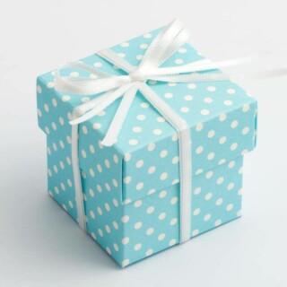 Doosjes met Deksel - Blauw Polka Dot – 5 x 5 x 5 cm – 10 Stuks