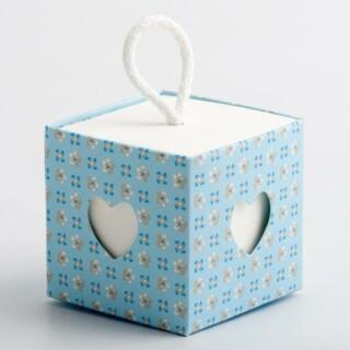Doosjes Blauw - Bloem Design met Koord & Hart Venster – 5 cm – 10 stuks
