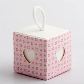 Doosjes Roze - Bloem Design met Koord & Hart Venster – 5 cm – 10 stuks