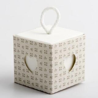 Doosjes Parel Grijs - Bloem Design met Koord & Hart Venster – 5 cm – 10 stuks