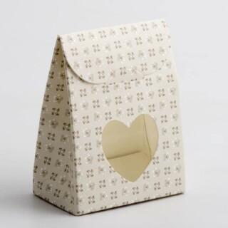 Doosjes Parel Grijs Bloem Design met Hart Venster – 6 x 3.5 x 8 cm – 10 Stuks