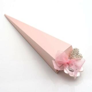 Punt Doosjes Roze Satijn – 15.5 cm – 10 Stuks