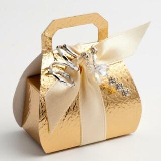 Doosjes Goud Leatherlook - Handtas model 8 cm hoog - 10 Stuks