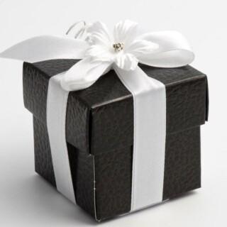 Zwarte Doosjes met Deksel – Leatherlook – 5 x 5 x 5 cm – 10 Stuks