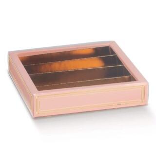 Luxe Bonbondoosjes Roze/Goud - 14.5 x 14.5 x 3.5 cm - 10 Stuks