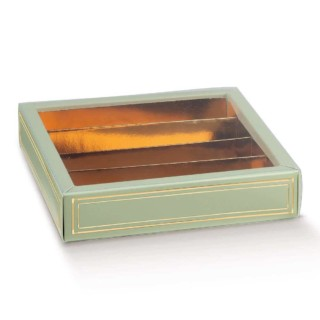 Luxe Bonbondoosjes Groen/Goud - 14.5 x 14.5 x 3.5 cm - 10 Stuks