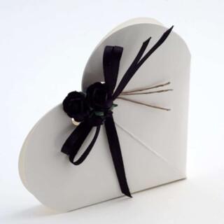 Hartvormige Doosjes - Glossy Wit - 6 x 1.5 cm - 10 Stuks