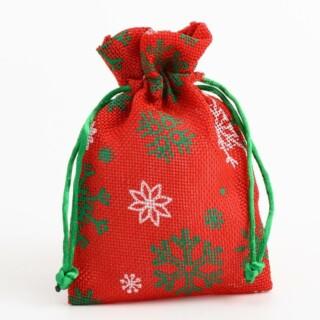 Stoffen Zakjes - Rood-Wit & Groen Sneeuwvlokken - 10 cm x 14 cm - 10 Stuks