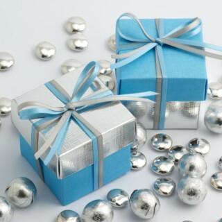 Tweekleurige Doosjes Blauw & Zilver Zijdeglans – 10 stuks