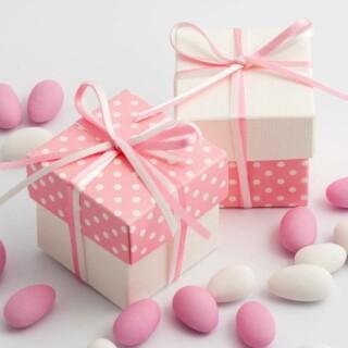Tweekleurige Doosjes Roze Polka Dot & Wit Zijdeglans - 10 stuks