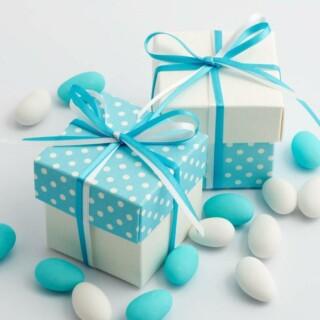 Tweekleurige Doosjes Blauw Polka Dot & Wit Zijdeglans - 10 stuks