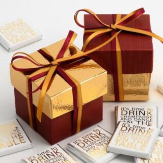 Tweekleurige Doosjes Bordeaux Zijdeglans & Goud Leatherlook - 10 stuks