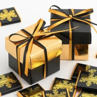 Tweekleurige Doosjes Zwart Zijdeglans & Goud Leatherlook - 10 stuks