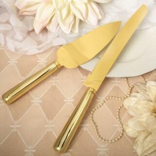 Taartschep en mes Gold Elegance
