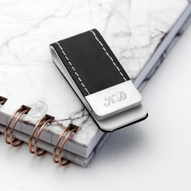black leather money clip per314 bal 1