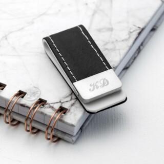 black leather money clip per314 bal