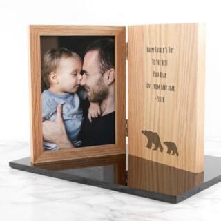 Vaderdag Fotolijst Boek Design met Beren Gegraveerd