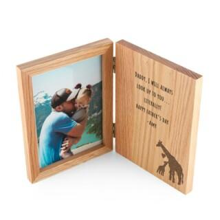 Vaderdag Fotolijst Boek Design met Giraffen Gegraveerd