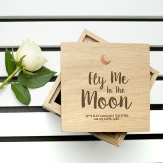 Fotoblok Hout 'Fly Me To The Moon' Gepersonaliseerd