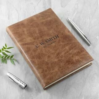 Gegraveerd notitieboek van natuurlijk bruin leer
