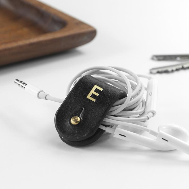 monogrammed leather earphones holder per3322 bla