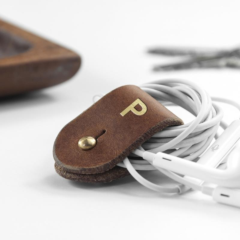 monogrammed leather earphones holder per3322 tan