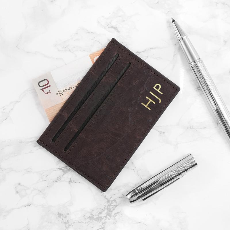 personalised natural vegan leather cork card holder per3385 001