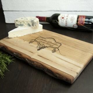 Luxe Dienblad Essenhout Vintage Wijn en Kaas Gepersonaliseerd
