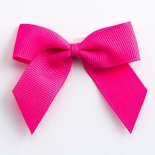 Grosgrain Strikjes Shocking Pink (Zelfklevend) 5 cm - 12 stuks