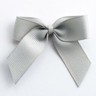Grosgrain Strikjes Zilver (Zelfklevend) 5 cm - 12 stuks