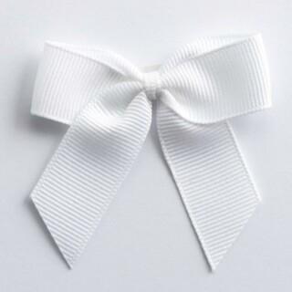 Grosgrain Strikjes Wit (Zelfklevend) 5 cm - 12 stuks