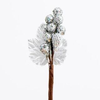 Glitter Bessen Decoratie - Zilver 12 stuks