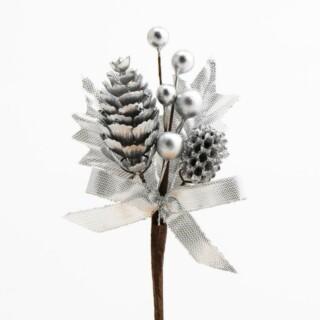 Dennenappels en Besjes Decoratie - Zilver 12 stuks