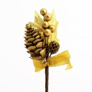 Dennenappels en Besjes Decoratie - Goud 12 stuks