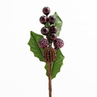 Bessen Decoratie Mix - Bordeaux 12 stuks