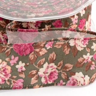 Vintage Bloemen Lint Verstevigde Rand Groen