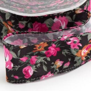 Vintage Bloemen Lint Verstevigde Rand Zwart