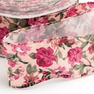 Vintage Bloemen Lint Verstevigde Rand Roze