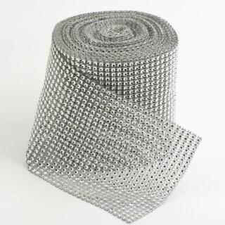 Plastic Diamante Effect Band Lint Zilver