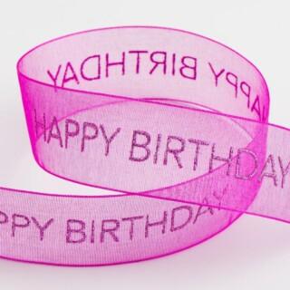 Happy Birthday Organza Lint Magenta
