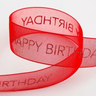 Happy Birthday Organza Lint Rood