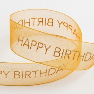 Happy Birthday Organza Lint Antiek Goud