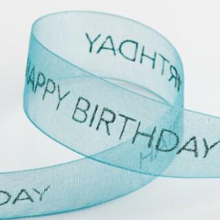 Happy Birthday Organza Lint Turquoise